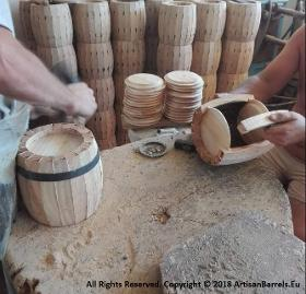 Small wooden wine barrel making