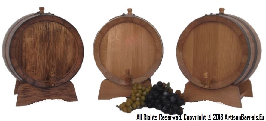 10 liter toasted oak barrels, kegs and casks for wine, port and vinegar making and ageing