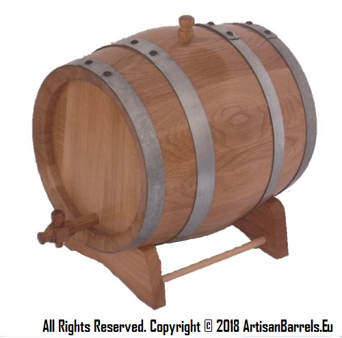 10 liter toasted oak wood barrels and casks for wine making and ageing with galvanized hoops