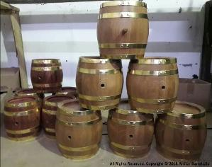 small whiskey casks with brass ring, hoops, loops