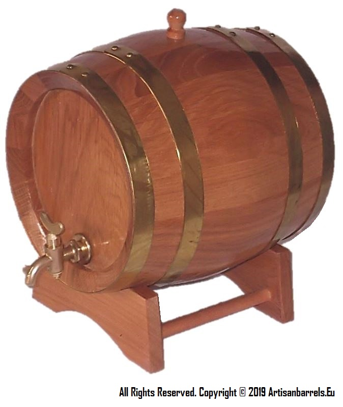 Small oak wood barrels, miniature whiskey casks, wooden whisky kegs with brass rings, hoops