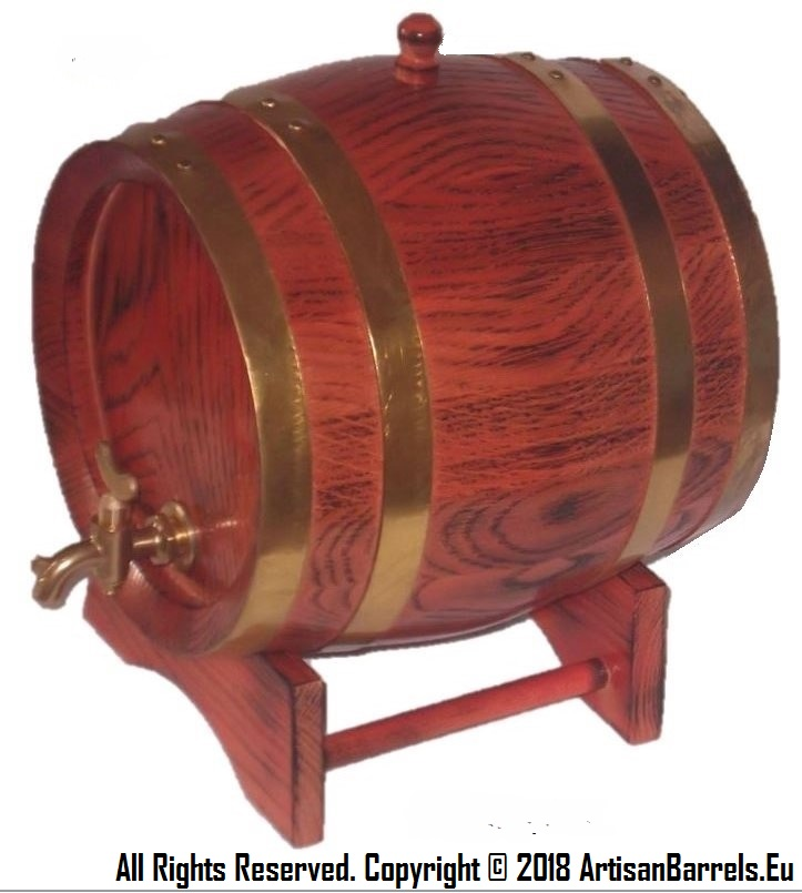 3 litrer wine barrel, oak wood cask, 3 litre wooden keg with brass hoops, 3L