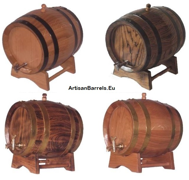 Small barrels with metal and brass tap