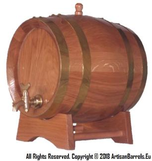 3 liter oak barrel with brass rings, loops, bands and brass tap