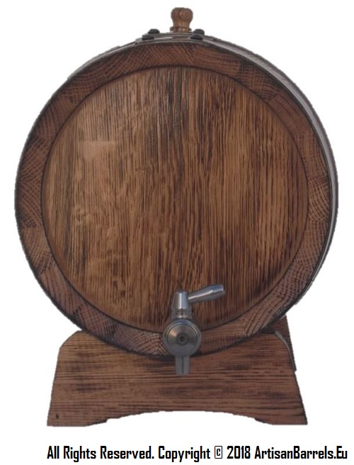 Small wooden barrel, oak cask and wine dispensing keg with metal tap